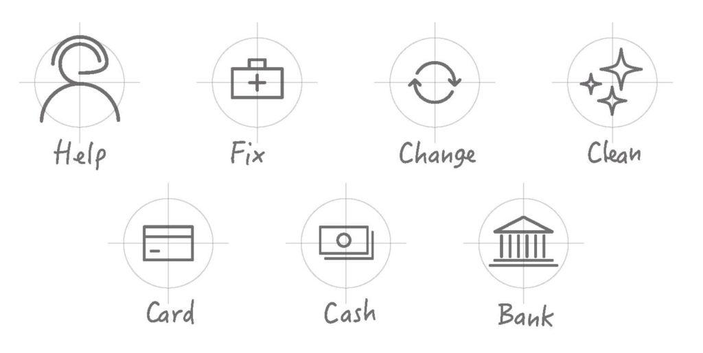 Design set di icone a mano libera GLASS RADAR
